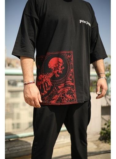Densmood DKU.4702-2 Densmood Oversize Baskı Detay T-Shirt Siyah